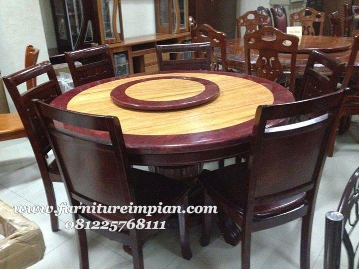 set kursi makan meja bulat model meja bisa putar ditengah