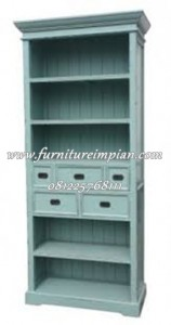 model lemari buku terbaru blue antique french bookcase
