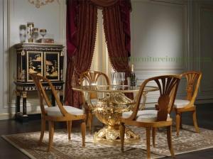 Meja Kursi Makan Bundar Emas