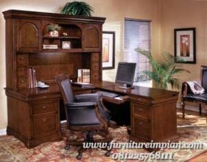 Set meja kerja kayu jati jepara