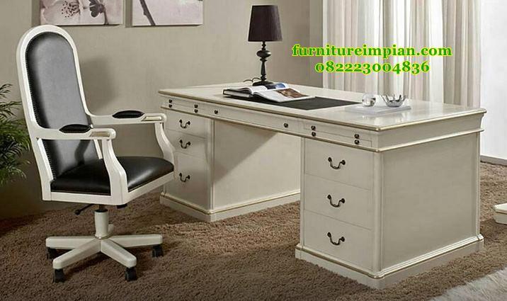 Meja kantor klasik duco putih jepara