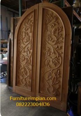 Pintu utama lengkung ful ukir terbaru